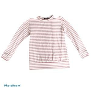 Amaryllis Pink and White Open Neck Sweater